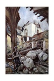 Verdun Cathedral after a German Bombing, 1914 Giclee Print by Francois Flameng