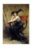 Woman Sitting in a Dagobert Armchair Giclee Print by Madeleine Lemaire