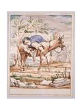 Bertoldino on a Donkey Backwards Giclée-tryk af Giuseppe Maria Crespi