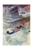 """Struggling in the Wild Sea"" Giclee Print by William Henry Charles Groome"