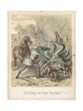 The Fight with the Dragon Giclee Print by Theodor Hosemann