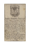 Stationers, James Adams, Trade Card Giclée-tryk