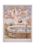 Bertoldino Falls in the Fishpond Giclee Print by Giuseppe Maria Crespi
