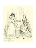 Mrs Bennet Welcomes Lydia and Her Husband Giclee Print by Hugh Thomson