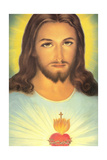 The Sacred Heart of Jesus, 19th Century Giclée-tryk