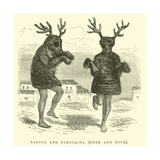 Taruca and Tarucacha, Deer and Buck Giclee Print by Édouard Riou
