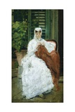 Lady Sewing Giclee Print by Silvestro Lega