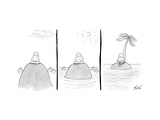 Three panels of a man sitting on an glacier, as the glacier melts, the wat… - New Yorker Cartoon Premium Giclee Print by Tom Toro