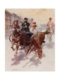 "Sledging with the ""Pristyazhka,"" or Side-Horse Giclee Print by Frederic De Haenen"