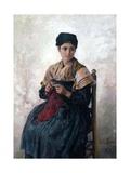 Peasant Girl Knitting, 1873 Giclee Print by Jules Breton