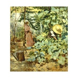 Among Pumpkin Plants Giclee Print by Francesco Vinea