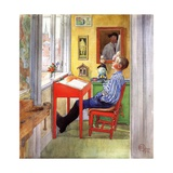 Esbjorn Doing His Homework, 1912 Giclee Print by Carl Larsson