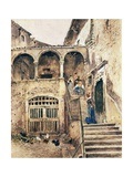 Inside Courtyard of Tenement Giclee Print by Antonio Mancini