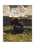 Brown Cow at Trough Giclee Print by Giovanni Segantini