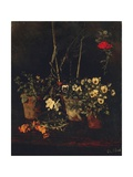 Still Life with Pansies Giclee Print by Carl Schuch