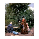 Ladies at the Bois De Boulogne, Paris Giclee Print by Francesco Miralles Galaup