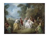Courtly Scene in a Park, C.1730-35 Giclee Print by Jean-Baptiste Joseph Pater