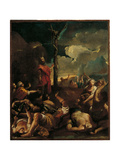 Moses Shows the Bronze Serpent to the Jews Giclée-tryk af Giuseppe Maria Crespi