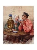 A Dish of Tea from a Samovar Giclee Print by Frederic De Haenen
