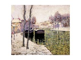 Barges on the Seine, 1894 Giclee Print by Ernest Lawson