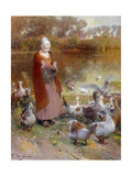 Shepherdess and Turkeys Giclee Print by Luigi Chialiva