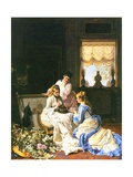 Girls with a Nest Giclee Print by Charles Baugniet