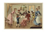Family Drinking Chocolate Giclee Print