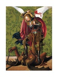 St Michael Slaying Dragon, by Josse Lieferinxe Giclée-tryk