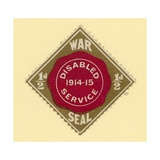 War Seal - Disabled Service 1914-1915 Giclee Print