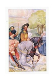 In Attendance on the Knight Was His Son Gicleetryck av Anne Anderson