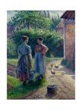 Peasant Women Chatting at Eragny, 1895-1902 Reproduction procédé giclée par Camille Pissarro