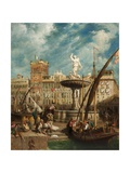 The Fountain, Port of Genoa, Italy, 1855 Giclee Print by William Parrott