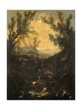 Landscape Giclée-tryk af Alessandro Magnasco