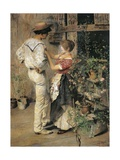 Flower Girl, 1888 Giclee Print by Ettore Tito