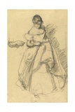 Study of a Girl for 'The Torn Gown' Giclee Print by Henry Tonks