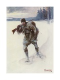 Alone across the Trackless Snow Giclee Print by Joseph Ratcliffe Skelton