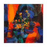 Roses on a Blue Ground Giclee Print by Peter Graham
