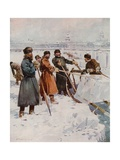 Ice-Cutting on the Neva Giclee Print by Frederic De Haenen