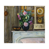 Bouquet of Flowers on the Fireplace, 1920 Giclee Print by Henri Lebasque
