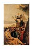St Vincent Ferreri Preaching to the Multitude Giclée-tryk af Giandomenico Tiepolo