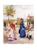 A Game of Croquet Giclee Print by Francesco Miralles Galaup