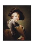 A Young Boy Holding a Portfolio, 1760 Giclee Print by Francois-Hubert Drouais