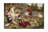 The Telling of One of the Decameron Stories Giclée-tryk af  Italian School