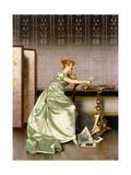 An Elegant Lady Admiring a Portfolio of Prints Giclee Print by Vittorio Reggianini