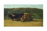 Black Oxen Pulling Wagon Giclee Print by Raffaello Sernesi
