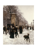 Promenade on a Winter Day, Brussels, 1887 Giclee Print by Frans Gaillard