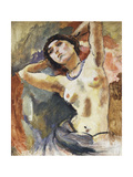 Brunette with Blue Collar, 1922 Gicléetryck av Jules Pascin