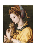 Lady with a Cat, C.1525-30 Giclee Print by Francesco Ubertini, Il Bacchiacca