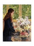Young Girl with Vases of Flowers Giclee Print by Theo van Rysselberghe