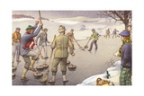 Curling in Scotland Giclee Print by Pat Nicolle